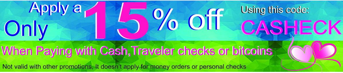 15 % DESC CASH OR TRAVELERS
