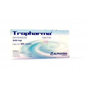 TROPHARMA (ERYTHROMYCIN) 500mg 20TAB - Farmacia Del Niño