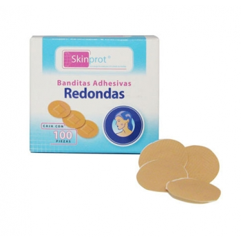 ROUND ADHESIVE BAND AIDS SKINPROT 100 PIECES