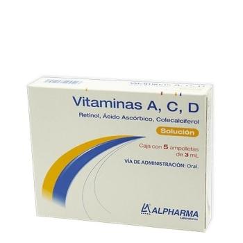 VITAMINAS A, C, D (RETINOL, ACIDO ASCORBICO, COLECALCIFEROL) 3ML AMPOLLETAS