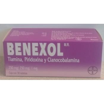 BENEXOL (TIAMINA, PIRIDOXINA Y CIANOCOBALAMINA) 250MG/250MG/1MG 30 TABLETAS