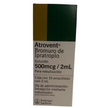 ATROVENT (BROMURO DE IPRATROPIO) 500MCG/2ML 10 AMPOLLETAS DE 2ML