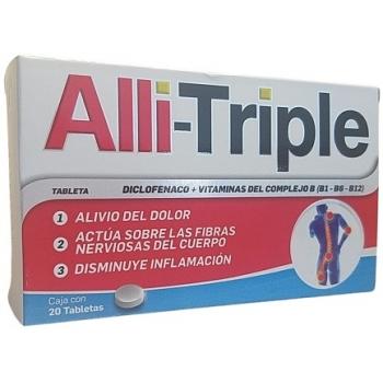 ALLI TRIPLE (DICLOFENACO, VITAMINAS B12,B6,B1) 50MG,0.25MG,50MG,50MG 20 TABLETAS