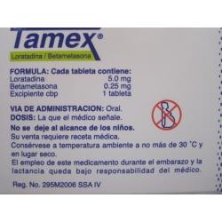 TAMEX (LORATADINE / BETAMETHASONE) 5.0MG/0.25MG 10TAB - Farmacia Del Niño - PHARMACY ONLINE IN